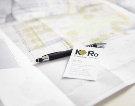 Visitenkarte KRo Immobilien auf Plan